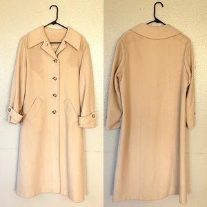 Vintage %100 Cashmere Tan Button Down Overcoat L